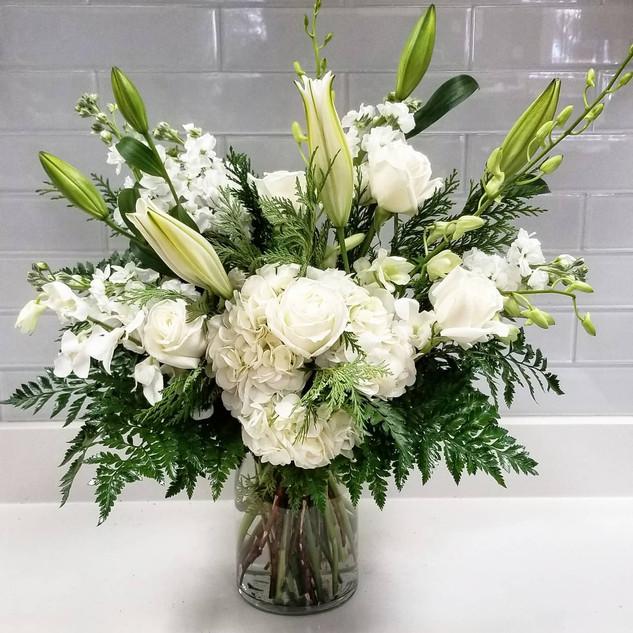 Extra Large White & Green Sympathy vase
