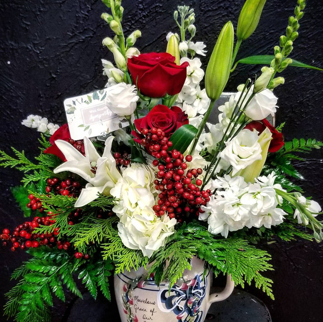 White and Red Sympathy vase in client's container