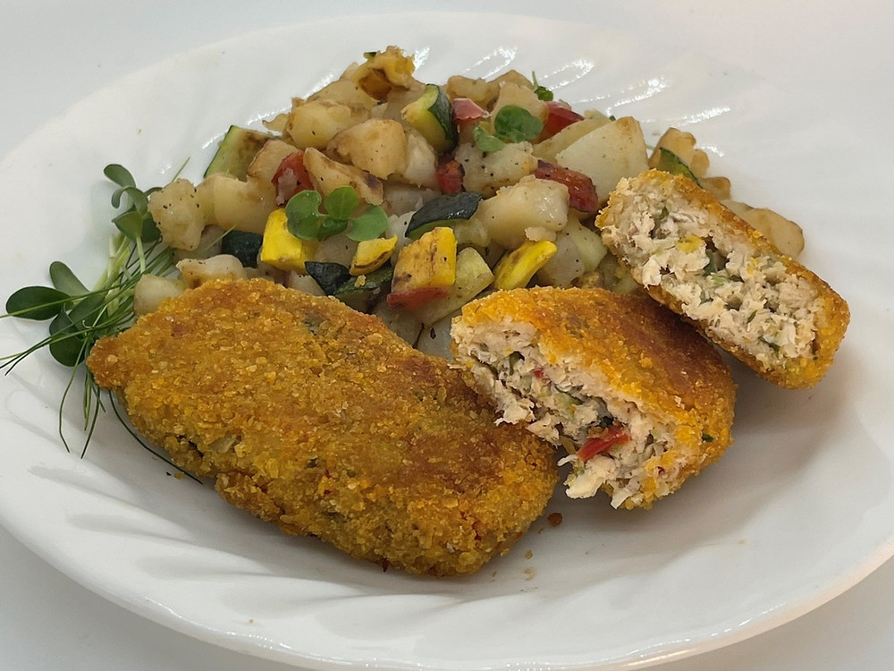 Homemade Oven- Baked Chicken and Veggie Nuggets with Microgreens by Debbie Warbington and On The Grow