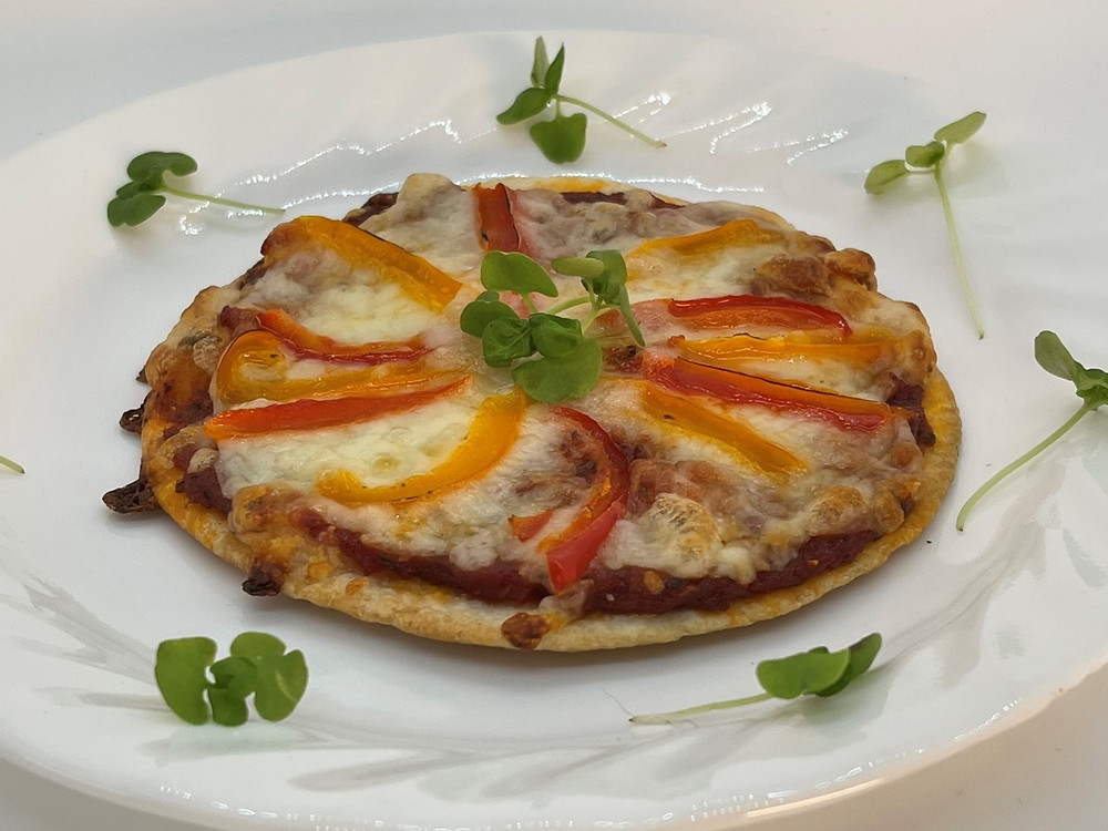 Homemade Microgreen and Veggie-full Pizza Sauce by Debbie Warbington and On The Grow Tortilla pizza