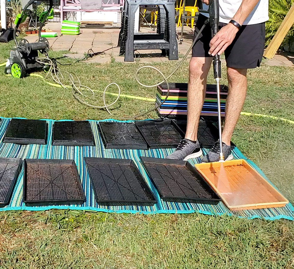Cleaning and Sanitizing Microgreens Trays fast using a Power Washer