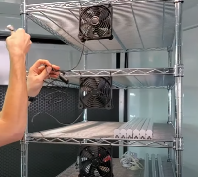 All the AC Infinity Fans in Place on the Professional Microgreens Grow Rack
