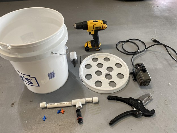 Supplies for DIY Areoponics Hydroponic Bucket grow system - On The Grow