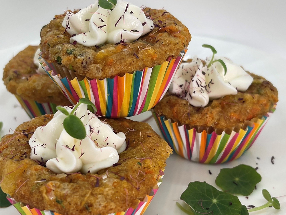 Mini MVP Muffins (Microgreens, Veggies & Pineapple) by Debbie Warbington and On The Grow With Cream Cheese Frosting