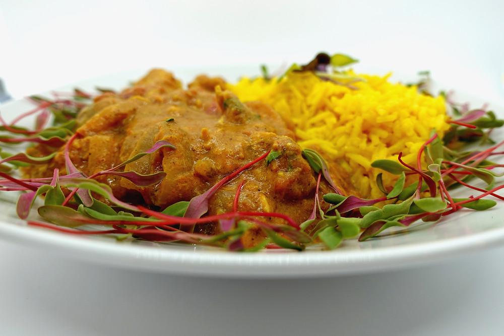 low Cooked Chicken Tikka Masala with Microgreens & Turmeric Cashew Butter Basmati Rice by On The grow and Mandi Warbington