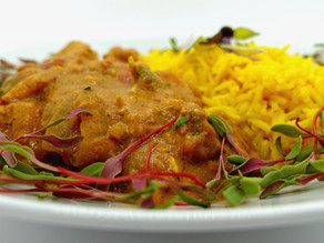 Easy Slow-cooked Chicken Tikka Masala with Turmeric Cashew Butter Basmati Rice and Microgreens