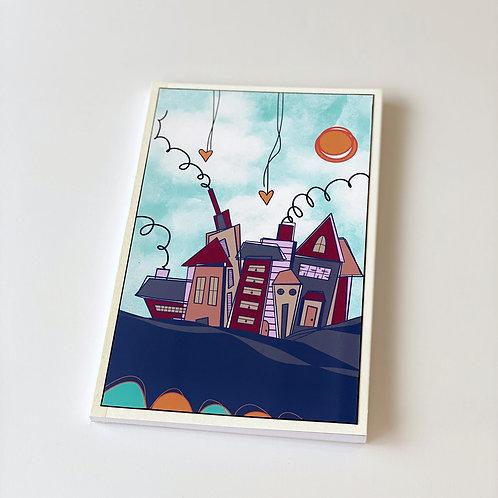 Whimsy houses handmade notebook