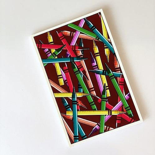 Colorful crayons handmade notebook