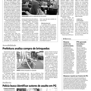 Jornal Diário dos Campos - Ponta Grossa: Iplan realiza novas etapas para elaborar Plano Diretor.
