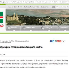 Plano de outorga terá pesquisa com usuários do transporte coletivo de São Bento do Sul.