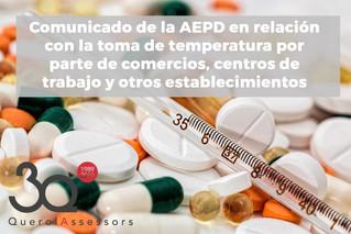 Comunicado de la AEPD en relación con la toma de temperatura