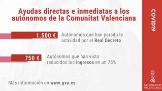 Ayudas directas e inmediatas para autónomos de la Comunidad Valenciana