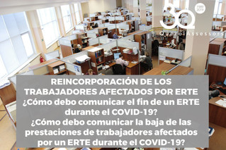 Reincorporación de los trabajadores afectados por ERTE