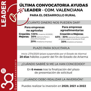 Última convocatoria de Ayudas LEADER en la Com Valenciana