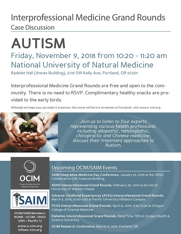 Photo of Interprofessional Medicine Grand Round on Autism hosted by OCIM