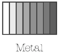 """abstract image of metal with the text """"metal"""" underneath representing a metal five element type"""