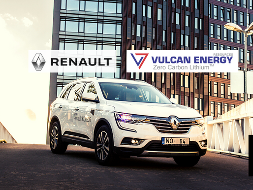 Renault Locks In 5-Year Lithium Supply Deal With Vulcan energy