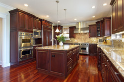 Wood-Floor-Kitchen-with-Cherry-Wood-Cabinets