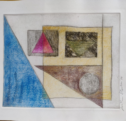 Dry Point and Colour Pencil