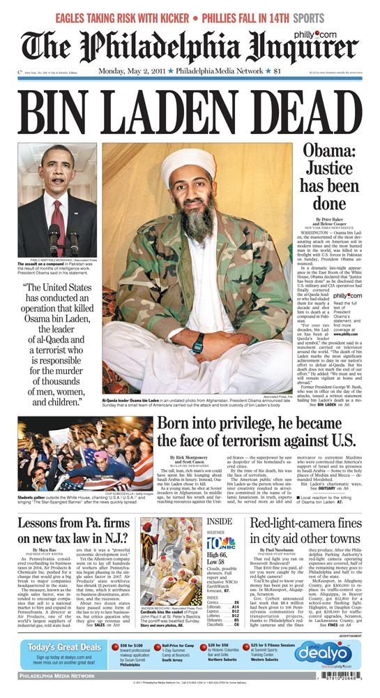 Page one design: Bin Laden killed