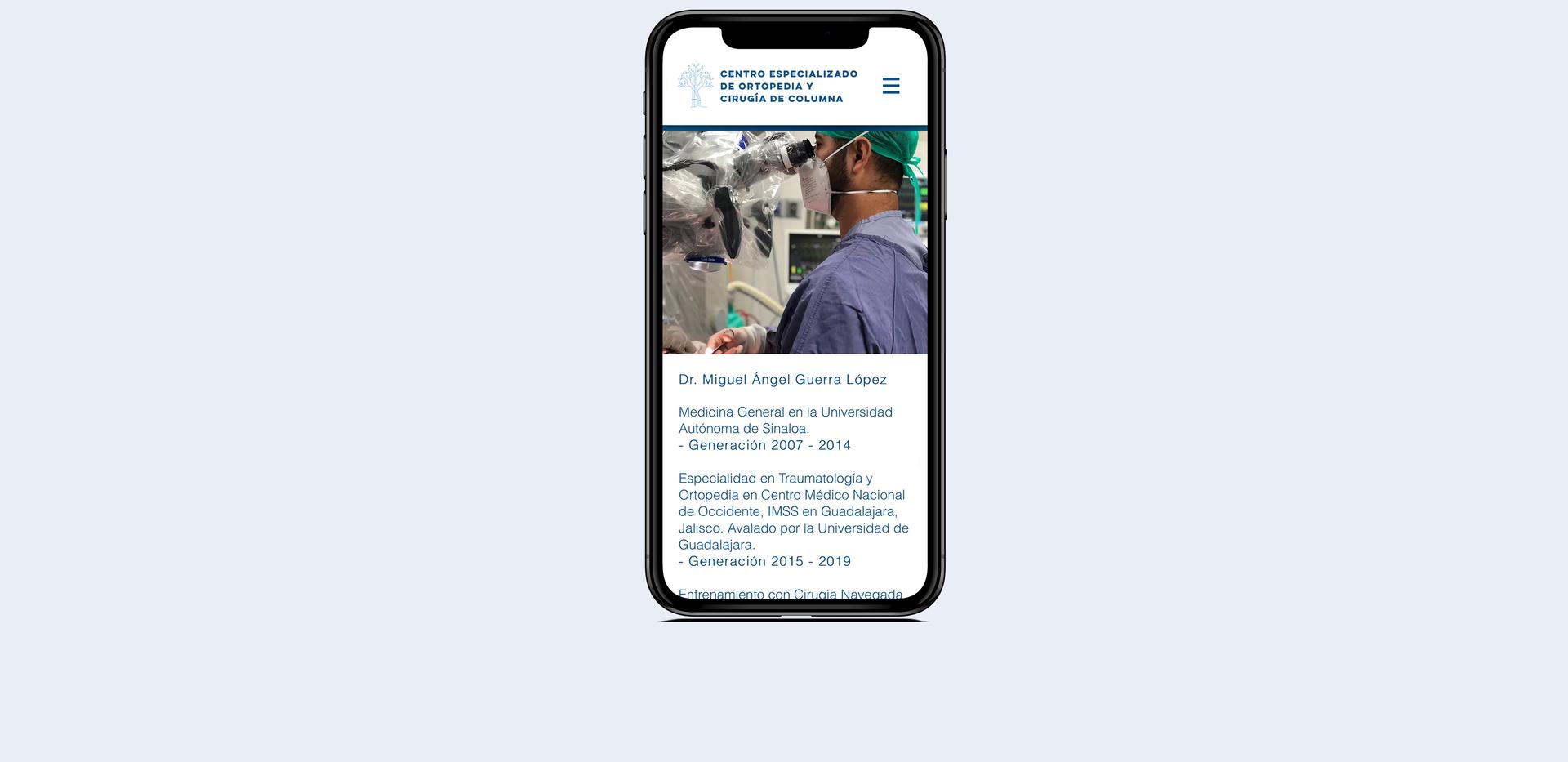 Mockup iphone sitio web Dr Miguel Guerra
