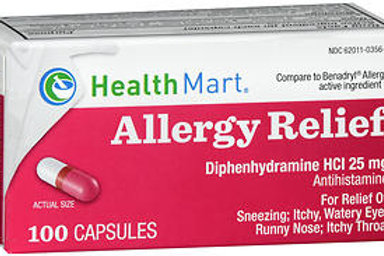 HM Diphenhydramine 25 mg 100 ct.