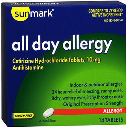 Sunmark All Day Allergy Cetirizine 14 ct.