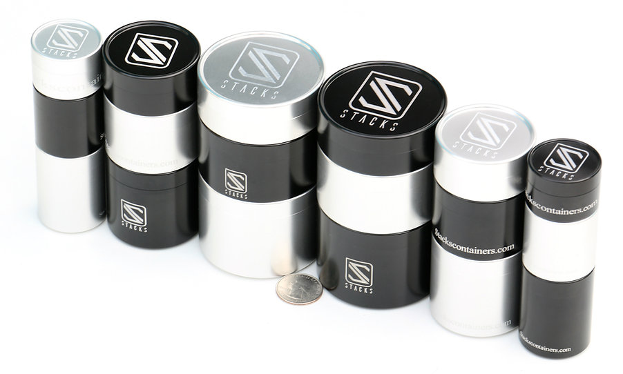 Stacks, Stacks containers. black and clear anodized. stacked.