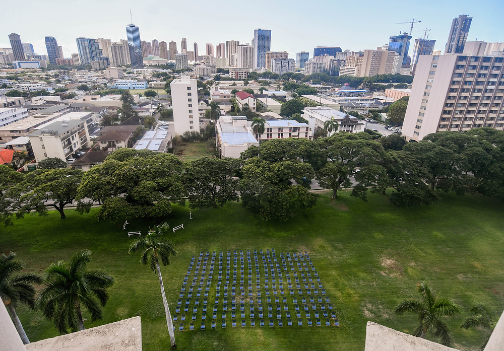 View from the church bell tower, looking at the 228 chairs on the lawn representing each person who died from COVID-19 in Hawai'i.
