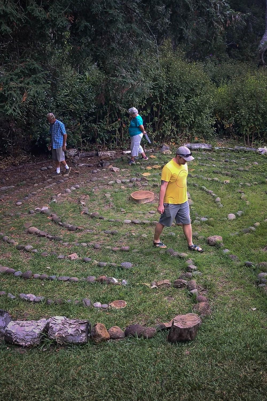 Walking the labyrinth in prayer at Waineke Lodge on Kaua'i.