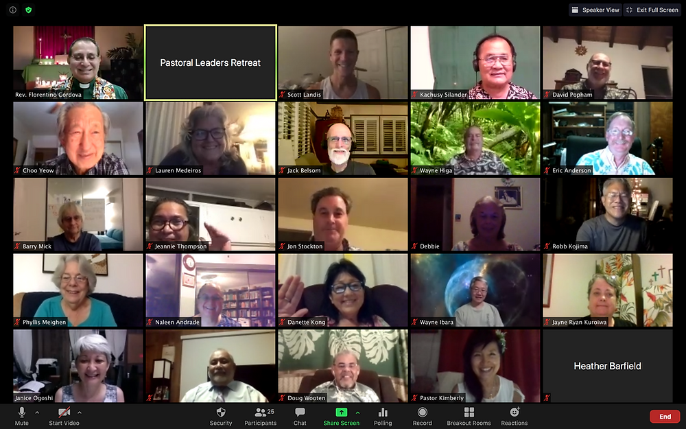 Pastoral leaders gather on Zoom for retreat.