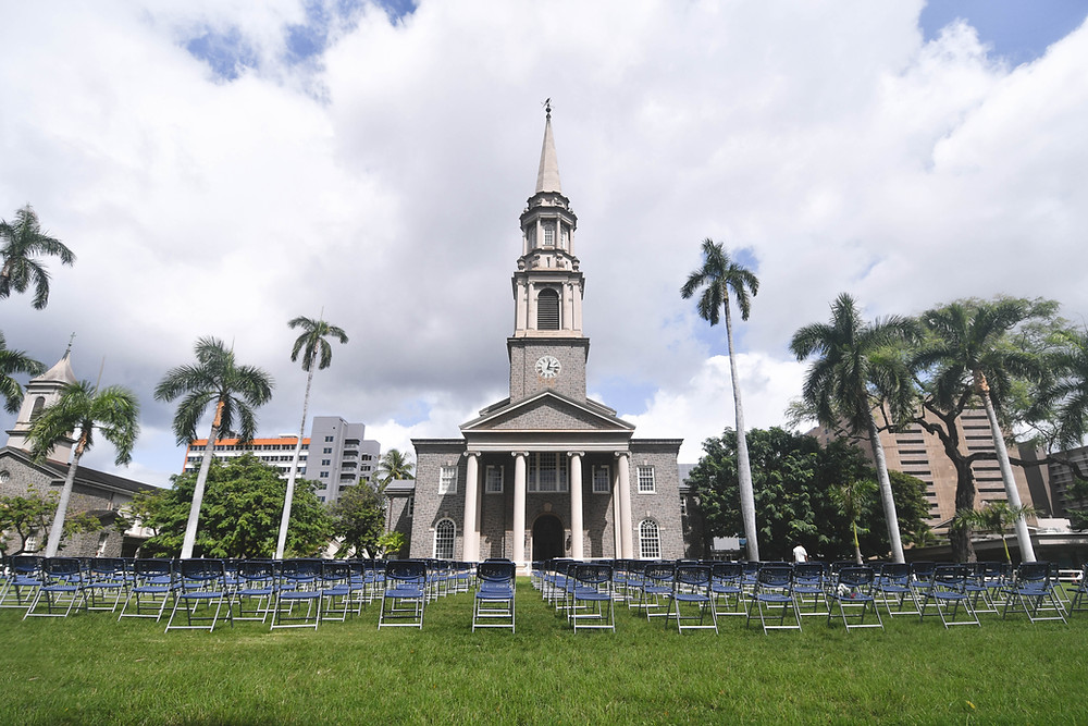 228 chairs on the lawn representing each person who died from COVID-19 in Hawai'i as of October 31, 2020.