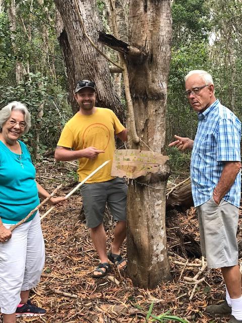 Phyllis Meighen, John Carr, and Glenn Frazier on the new Psalm 23 Path at Waineke Lodge in Koke'e on Kaua'i.