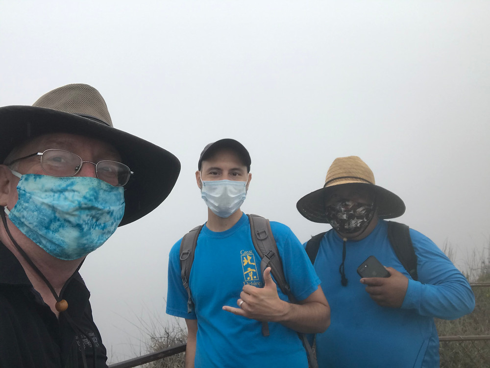 East Hawai'i clergy, (left to right: Eric Anderson, Christopher Czarnecki, and Nixon Jack) at the volcano for their in-person gathering.