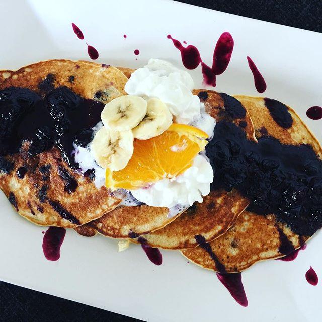 Blueberry Banana Orange Protein Pancakes