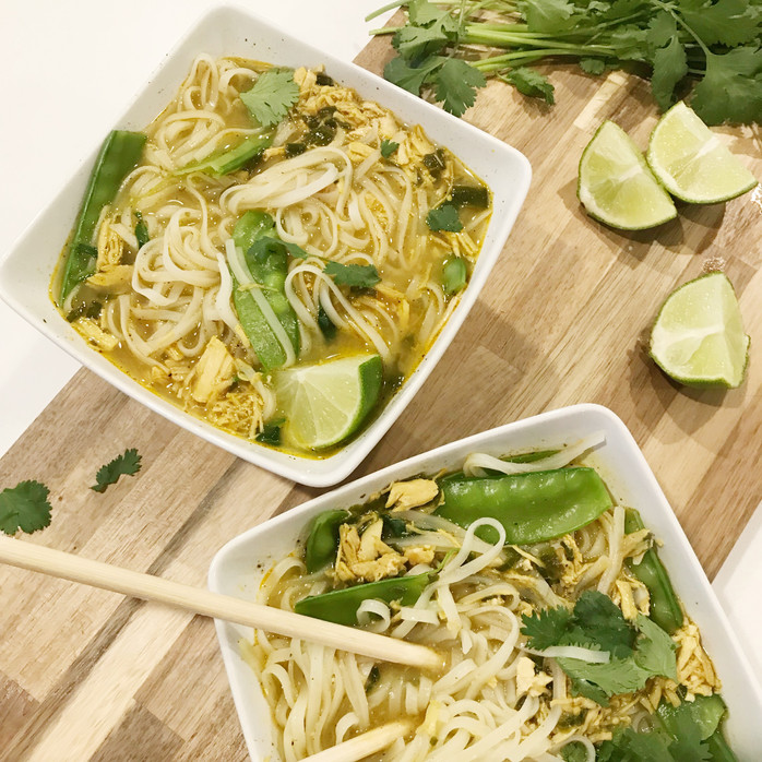 Lightened up Coconut Curry Chicken Noodle Soup