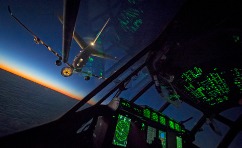 Voyager Aircraft on a night refuelling sortie