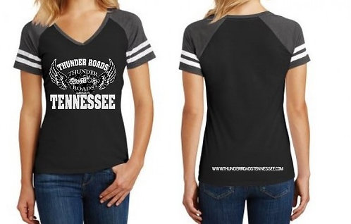 Ladies Black/Heather Game V-Neck Tee