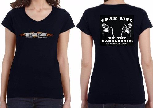 Ladies V-Neck T-Shirt (2) AVAILABLE in Black or Grey