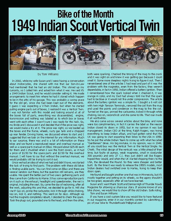 Indian Motorcycle Bike of the Month