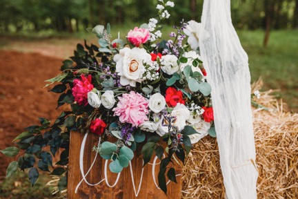 Roses, dahlias, and greenery