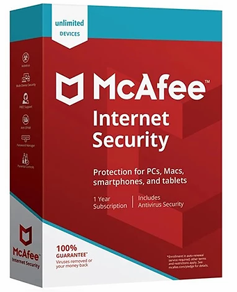 McAfee Internet Security 2020 - Unlimited Users (10 devices) 1 Year