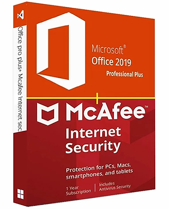 Microsoft Office 2019 Pro Plus + McAfee LiveSafe Unlimited Devices 2020