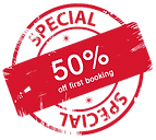 50% OFF, SPECIAL, discount, first booking, deal, offer,