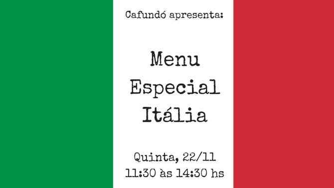 Quinta tem Menu Especial Itália no Cafundó!