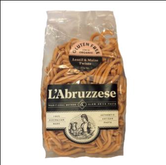 L'Abruzzese Organic Lentil & Maize Twists (GF) 375gm
