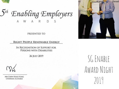 RPRE is proud to be awarded the SG Enable - Certificate of Appreciation