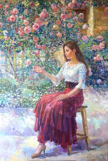 「薔薇に寄せる風」F120 大友義博 油彩