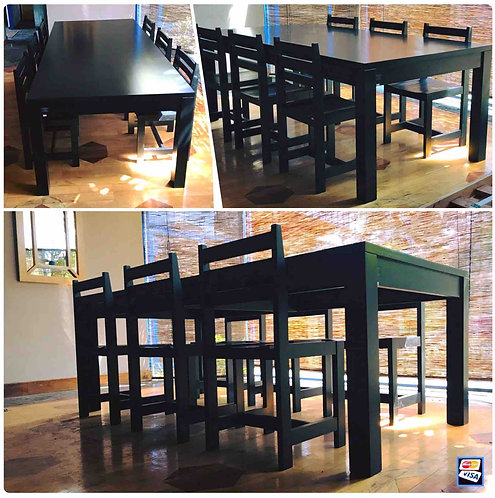 BLACK Dining Set Table & 6 Chairs