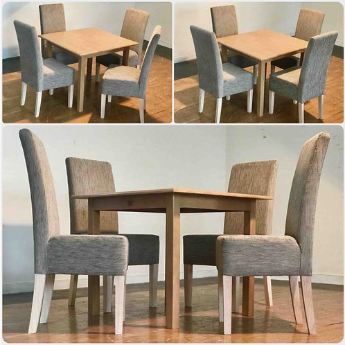 STANDARD Dining Table & 4 Upholstered Chairs